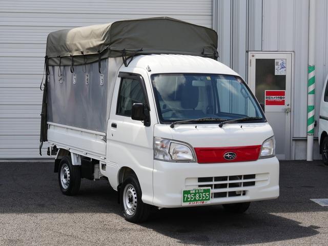 スバル TB 4WD 5速MT 全高さ250cmと225cm上下昇降式幌トラック パートタイム切替式四駆 元赤帽軽運送仕様 軽貨物  禁煙車 荷室フック14個あり 荷室最大高さ185cm