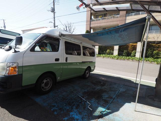 日産 キャラバン SロングDX ハイルーフ キッチンカー 8ナンバー加工車登録 車検2年 サイドオーニング 換気扇 シンク2層式