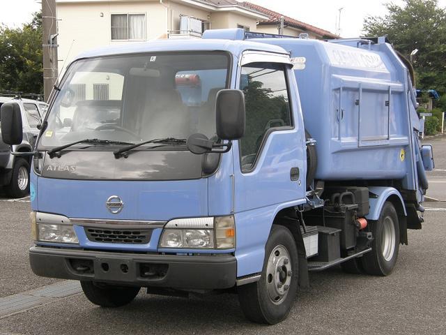 日産 2トン積みパッカー車プレス式 HSA 左電格ミラー