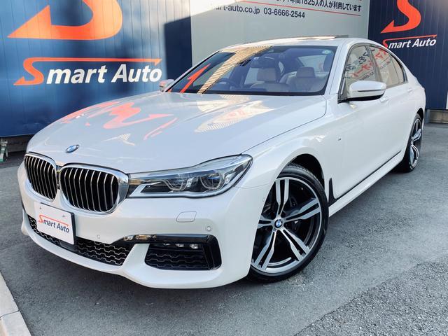 BMW 740i Mスポーツ ワンオーナー ディーラー整備 エクスクルーシブナッパレザーアイボリーホワイト コンフォートアクセス BMWレーザーライト サンルーフ OP20インチAW BMWディスプレイキー&リモートパーキング