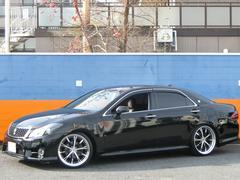 クラウン黒革シート 純HDDナビ 車高調 WORK20AW フルセグ