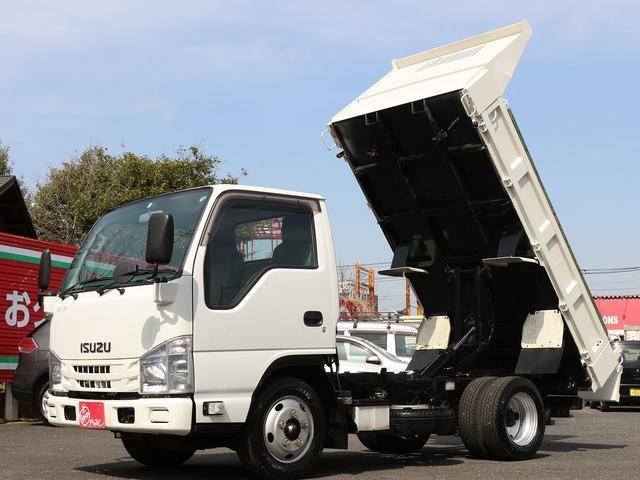いすゞ エルフトラック 強化フルフラットローダンプ 全低床強化ダンプ三方開 2t積み キーレス 坂道発進補助装置 コボレーン付き 4ナンバー 後期型 5速MT3ペダル エアコンOK レベライザライト