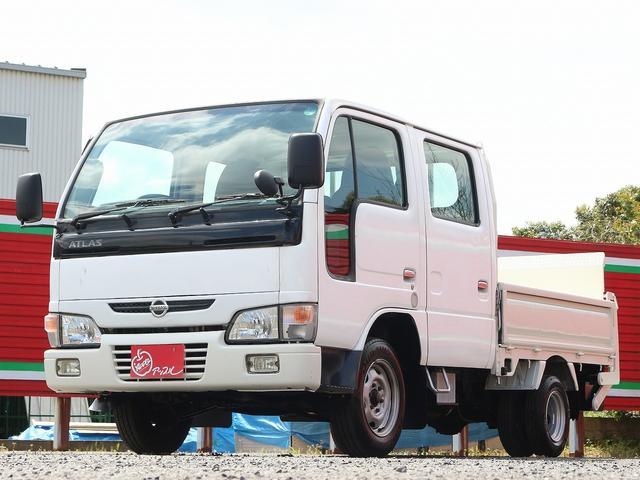 日産 アトラストラック  1.15t Wキャブ アームパワーゲート 昇降能力600キロ 投光器付き 3方開 後輪Wタイヤ リフト寸68-150高さ76 最大積載量1150キロ 車両総重量3360キロ
