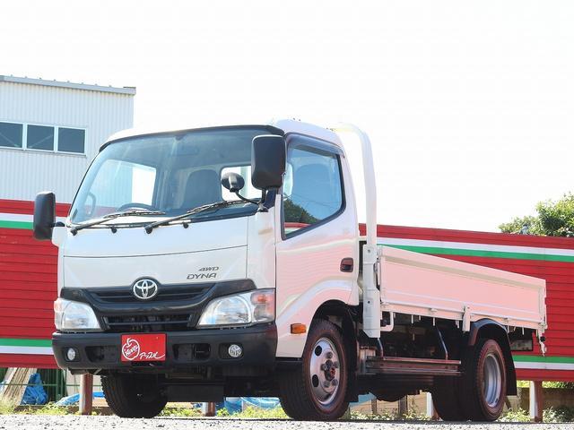 トヨタ ダイナトラック セミロングフルジャストロー 4WD 2000キロ積載 全低床 平ボディ かるがるゲート 5MT 左電格ミラー 荷台内寸357-180-38 スペアキー2本 アシストアイドルアップ 最大積載量2000キロ 車両総重量4865キロ