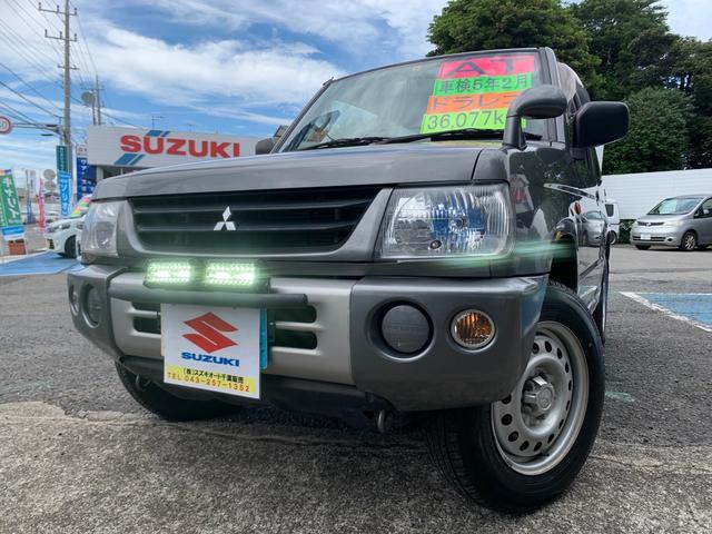 三菱 パジェロミニ XR 36080km・車検5年2月・軽SUV・AT・ドライブレコーダー・DVD再生・ガンメタ