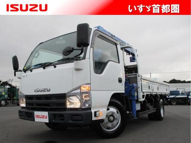 いすゞ エルフトラック 高床 クレーン付平ボディ・タダノ製・3段2.63t・ラジコン・フックイン・積載2.000kg・木製3方開・アオリロープ穴3対・距離96.000kg・6MT・取説・保証書