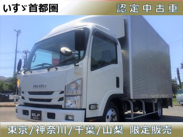 いすゞ エルフトラック フルフラットロー バン・スムーサー・日本フルハーフ製・積載2.000kg・ラッシング3段・新明和製垂直パワーゲート・昇降能力800kg・バックカメラ・助手席側電格ミラー・キーレス・ETC・距離82.000km