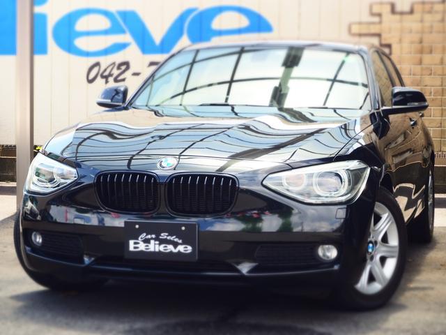 BMW 116i ターボ車 プッシュスタート ワンセグ付き社外ナビ HIDヘッドライト 純正16インチAW チルト&テレスコ付き本革巻きステアリング 8速AT 取説 記録簿 スペアキー 保証付き