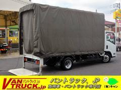 エルフトラックロング 平ボディー 垂直パワーゲート 幌付 積載2000kg