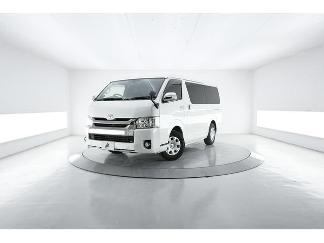 トヨタ レジアスエースバン ロングスーパーGL ダークプライム LEDヘッド 半革 純ナビ Bカメラ AC100V電源