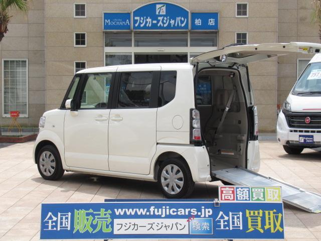 ホンダ N-BOX+  福祉車両 リアスロープ 4人乗車いす1基固定 純正SDナビ 電動ウインチ ワンセグ ETC キーレス