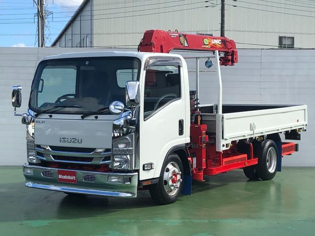 いすゞ エルフトラック  3.0Dターボ ワイドロング 4段クレーン 3t積