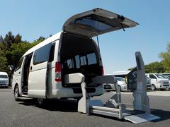 ハイエースバンウェルキャブ Bタイプ 車いす2脚仕様 福祉車両 電動固定式 リアリフト 純正ナビ Bカメラ オートステップ 手すり 消費税非課税