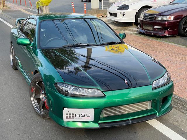 日産 シルビア スペックR Vパッケージ HKS GT-SSタービン パワーFC 機械式LSD TE37 車高調 マフラー 社外ヘッドライト BRIDEシート