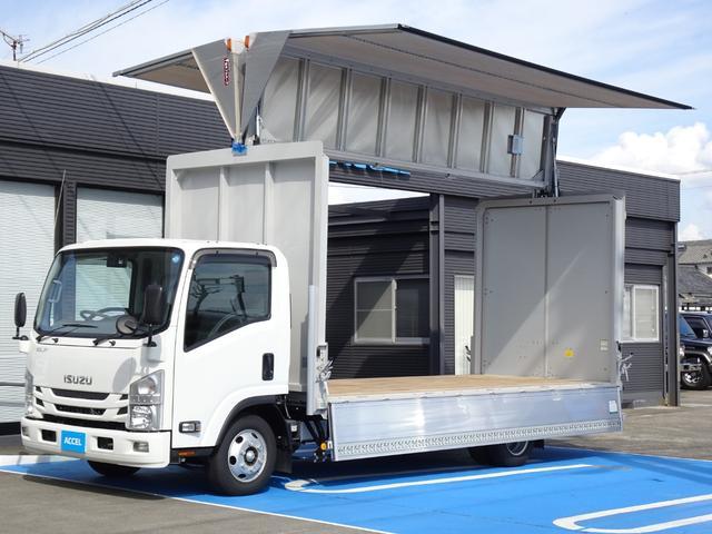 いすゞ エルフトラック  日本フルハーフ アルミウイング ワイド超ロング 積載3t 6MT ディーゼルターボ ラッシングレール2段 セイコーラック 荷台長さ500cm・幅209cm・高さ223cm 荷台床面地上高85cm