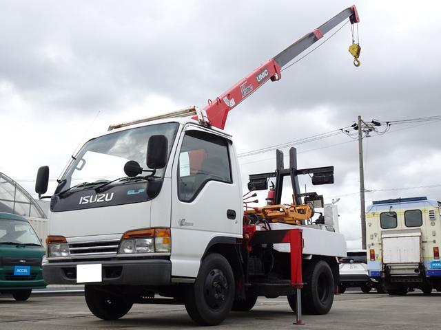 いすゞ エルフトラック  レッカー車 ユニック3段クレーン 前後アウトリガ 車両総重量3,925Kg NOx・PM適合