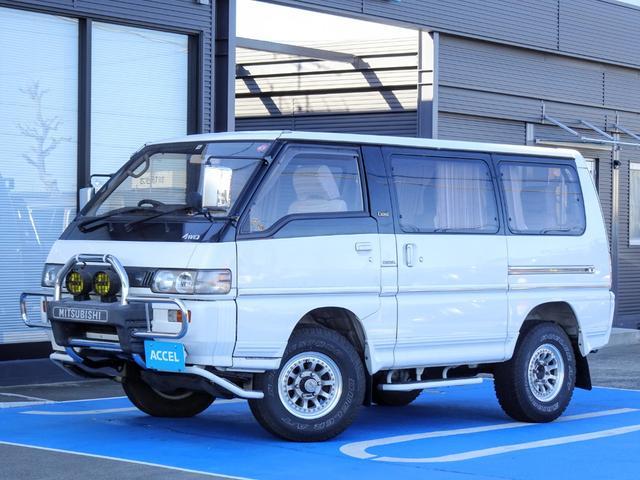 三菱 エクシード 5MT 4WD 5ナンバー 4D56ディーゼルターボ P25W 7人乗り カーテン 実走行 グリルガード&フォグ WORK15インチAW NOx・PM非適合