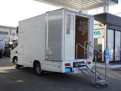 デュトロ 移動販売車 移動ショールーム 展示車 1ナンバー AT車 ディーゼル発電機搭載 荷台エアコン・照明・換気扇 4点車体安定ジャッキ リア格納式階段 オオシマ自工 常時バックカメラ NOx・PM適合