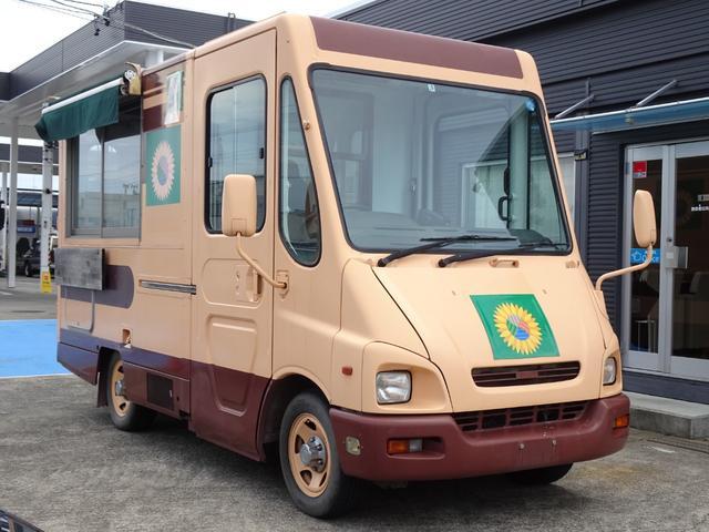 いすゞ  移動販売車 キッチンカー 8ナンバー 加工車登録 AT車 ディーゼル 3槽シンク コールドテーブル 作業台 換気扇 NOx・PM非適合