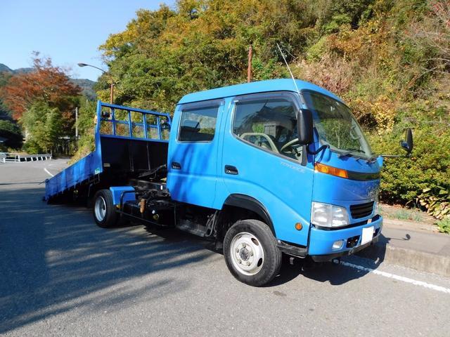トヨタ 積載車 キャリアカ- 4WD 高床 Wキャブ  ウインチ付