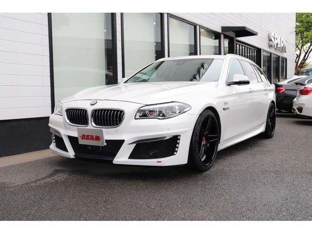 BMW 5シリーズ 528iツーリング ラグジュアリー BEAMコンプリートカー/BEAMフルエアロ/BEAM20インチブラックアルミ/BEAM4本出しテールパイプ/ローダウン/黒革/LEDライト/LEDメーター/Aトランク/オーディソンアンプ/ACC