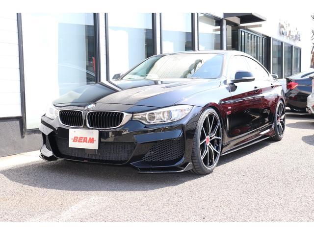 BMW 4シリーズ 420iグランクーペ ラグジュアリー BEAMコンプリートカー/ベージュレザーシート/シートヒーター/フルエアロ/20インチAW/4本BEAMマフラー/ローダウン/Bluetooth/HDDナビ/DVD視聴/ミュージックサーバー