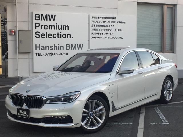 BMW 740e認定保証プラグインHV黒革SR付ACCLEDヘッド