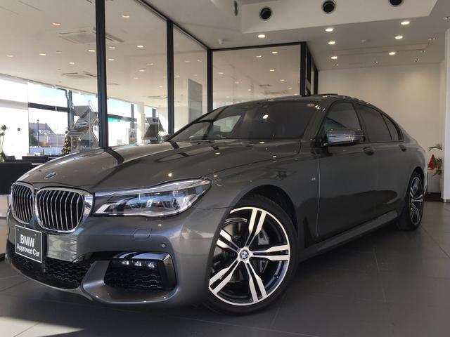 BMW 740i Mスポーツ マゼラングレー ブラックレザーシート ガラスサンルーフ ディスプレイキー ヘッドアップディスプレイ 20インチアルミホイール ソフトクローズドア フルセグTV アクティブクルーズコントロール