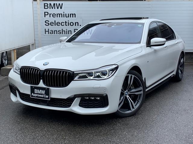 BMW 740i Mスポーツ 認定保証・ワンオーナー・レーザーライト・サンルーフ・ブラックレザー・シートヒーター・シートエアコン・純正20AW・ブラックキドニーグリル・Mパフォーマンスサイドシール・ハーマンカードン・HUD・地デジ