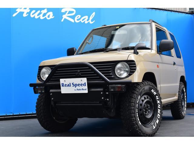 三菱 パジェロミニ XR-II REALSPEEDカスタム シシカリバンパー ベージュ色全塗装済み CDプレーヤー MTタイヤ ルーフレール リアスポイラー スペアタイヤカバー付