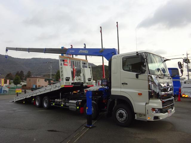 日野 クレーン付セルフローダー 重機運搬車 フジタ 9.7t積