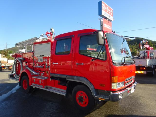 三菱ふそう 水槽付消防車 4WD モリタ製 放水銃付 1.5KL積み
