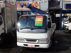 エルフトラック2tNOx適合ディーゼル1t吊り横置き簡易クレーン3段ブーム