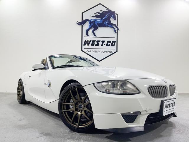 BMW Z4 ロードスター3.0si 左H265psWORKEMOTION18AWKW車高調ARQRAYマフラーベージュ革パドルシフトメモリーパワーシート電動オープン社外ナビBluetoothシートヒーターETC点検記録簿HIDヘッド