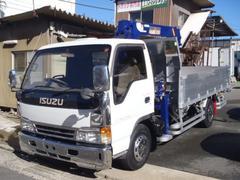 エルフトラック3.6tワイドアルミ平 前田3段クレーン フックインラジコン