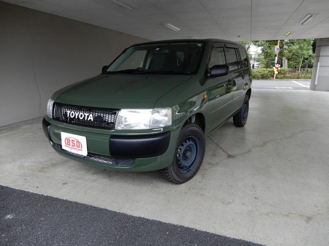トヨタ プロボックスバン DXコンフォートパッケージ 4WD リフトアップ ブラックホイール ブロックタイヤ SDナビ フルセグTV DVD Bluetooth ETC キーレス NEWペイントグリーン LEDヘッドライト 禁煙車