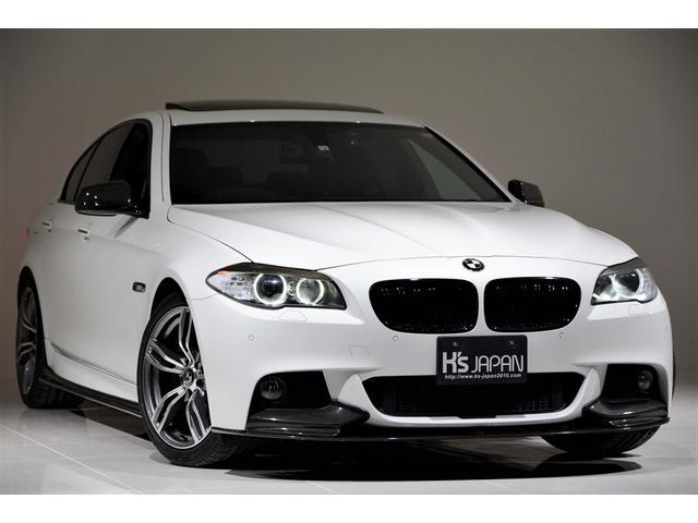 BMW 5シリーズ 528i Mスポーツパッケージ OP合計約62万 カーボンリップスポイラー カーボンリアスポイラー 社外19インチAW 黒革シート サンルーフ バックカメラ カーボンシャークアンテナカバー カーボンサイドスカート