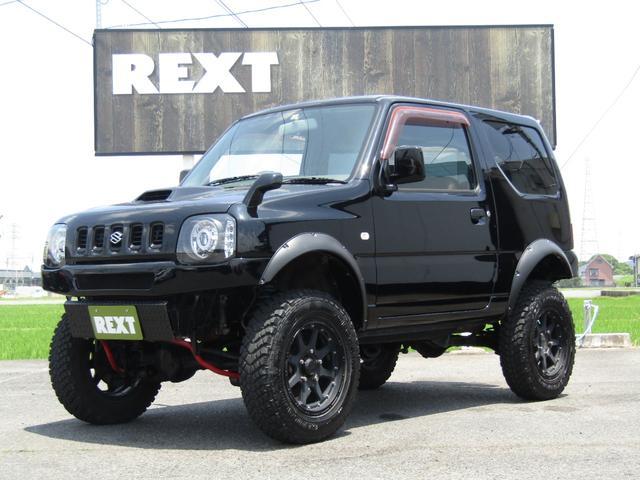 スズキ ジムニー XA 4WD 4AT リフトUP マフラー LEDヘッド・LEDヘッドテール オバフェン 外AW MTタイヤ 外前後バンパー 革調シート Bフォグ