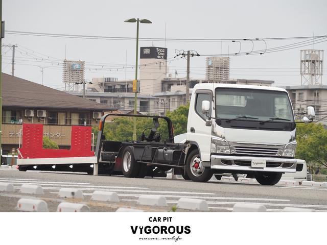 三菱ふそう 積載車 極車フラトップ ナビ Bカメラ ETC 6MTターボ