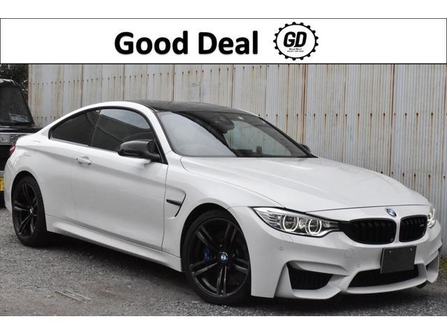 BMW M4クーペ 7速DCT パドルシフト オプション19インチブラックアルミ カーボンルーフ カーボンミラーカバー インテリジェントセーフティ レーンデパーチャーアラート 衝突被害軽減ブレーキ