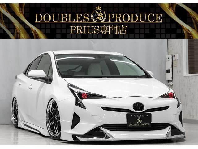 トヨタ プリウス S ホワイトシートカバー/ホワイトインテリアパネル/ホワイトステアリング&シフト/フルエアロ/AMEシュタイナーブラックポリッシュ19インチAW/ローダウン/オリジナルRGBカラーアイヘッド/フルカスタム