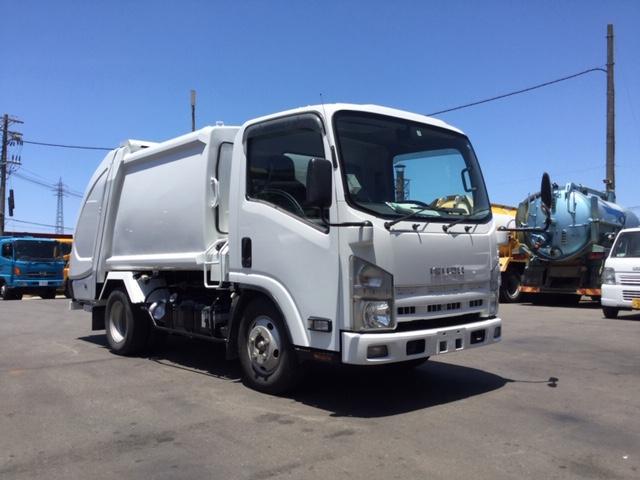 いすゞ エルフトラック 新明和製3トンプレスパッカー 上物点検整備済み 線塗装済