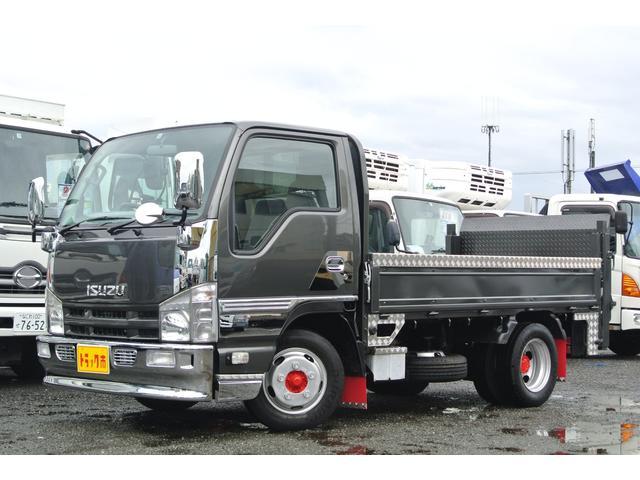 いすゞ エルフトラック 平ボディーパワーゲート付 積載量2t 全低床 メッキ アルミ