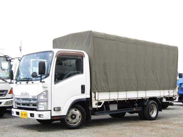 いすゞ エルフトラック 平ボディー 幌付き 積載量2000kg 全低床