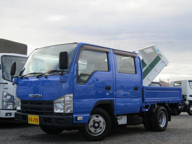 いすゞ エルフトラック Wキャブ 荷台床板張り スムーサーAT 排出ガス浄化装置 6人乗り ETC ドラレコ 三方開 ゴムマット ドアバイザー 荷台内寸約長さ206cm×幅160cm×高さ36cm