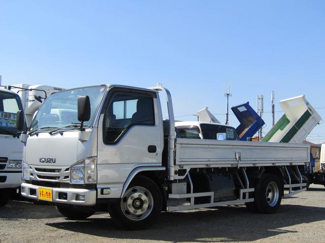 いすゞ エルフトラック  平ボディ 積載量4t 高床 標準 ロング アオリ開閉補助装置 排出ガス浄化装置