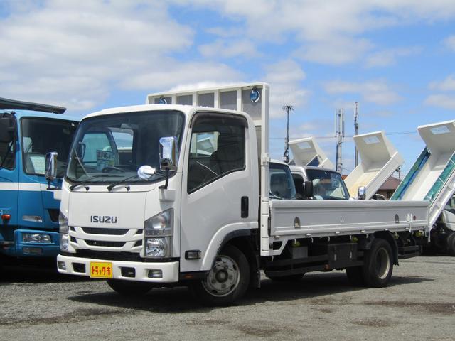 いすゞ エルフトラック  平ボディー 積載量2t 全低床 標準 ロング ナビTV アオリロープ穴2対 アオリ開閉補助装置