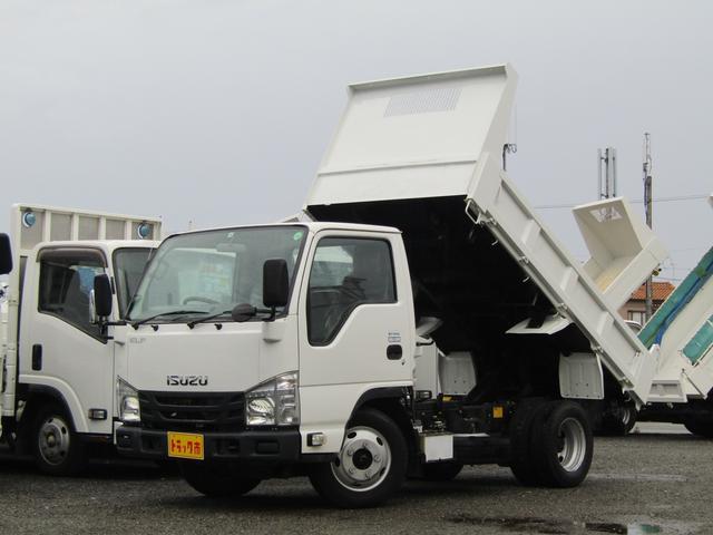 いすゞ エルフトラック  ダンプ 積載量3トン 全低床 4ナンバー 新明和製 排出ガス浄化装置 ETC ディーゼル AT