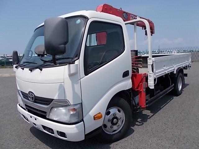 トヨタ 4段クレーン・ラジコン付・フックイン・2t積平・高床・5MT