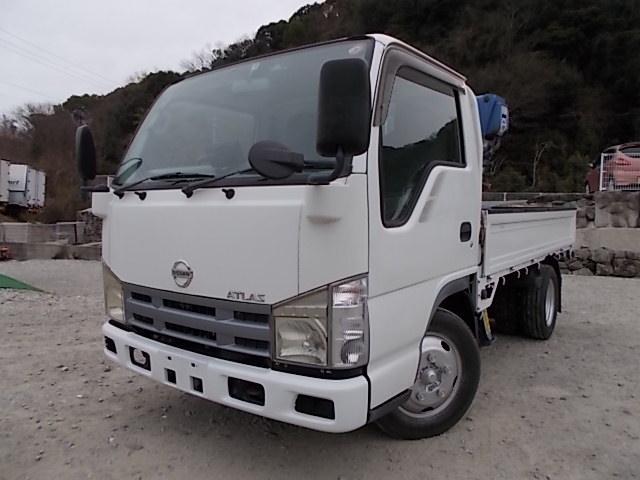 日産 3t積・タダノ3段クレーン・平ボディ・AT・全低床